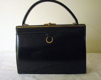 Vintage Black Purse Handbag 1960 Dofan Belgium
