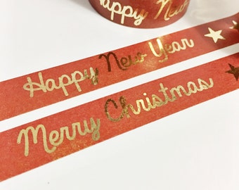 SALE Christmas Dark Red Washi With Gold Foil Merry Christmas Happy New Year Stars Gold Foil Washi Tape 11 yards 10 meters 15mm