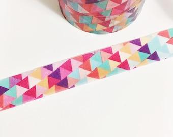 Red Purple Orange Blue Teal Pink Geometric Triangles Washi Tape 11 yards 10 meters 15mm