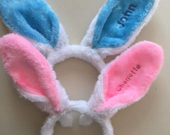Embroidered personalized Easter Bunny Ears Headband