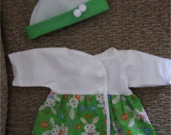 "Baby Doll Clothes - Sparkly Green & White Bunny Print Dress and Hat Layette Set Fits Bitty Baby or Other 15"" Baby Doll"