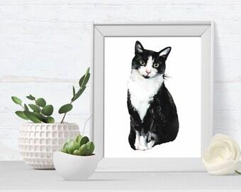 Cat Portrait, Cat Art Print, pet portrait, black and white cat, cat art print, A4 or A5, ideal for cat lovers