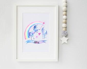 Personalised Unicorn Art Print, art print, unicorn print, unicorn, rainbow, ideal for unicorn lovers, nursery print