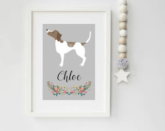 Dog Portrait, Personalised A4 Pointer Dog Art Print, pet portrait, Pointer, dog art print, ideal gift for dog lovers