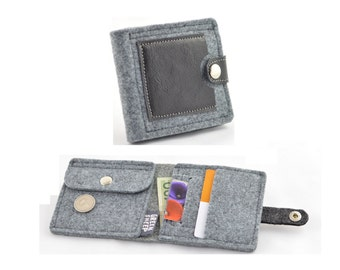 Felt and leather Wallet, Grey and black leather, modern, Minimalist, Small Wallet