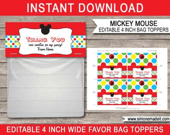 Mickey Mouse Favor Bag Toppers - Mickey Mouse Theme - Birthday Party Decorations - 4 inches wide - INSTANT DOWNLOAD with EDITABLE text