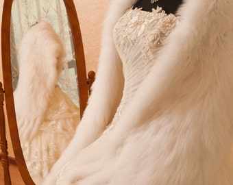 Bridal Stole Wrap With Tassels Faux Fox Fur Model Abelie