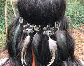 Feather Flower Crown Headband - Feather Extension Clip Hippie Festival Headpiece