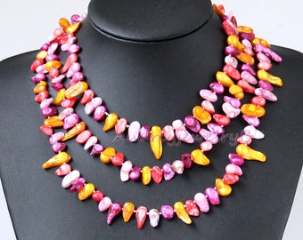"55""/140cm Long Colorful Baroque pearl necklace, sweater necklace (you can freely adjust the necklace style),sister gift"