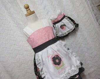Girls birthday dress, apron dress,  monogram Dress, photo shoot dress, availabe to order 1T 2T,3T,4T,5t