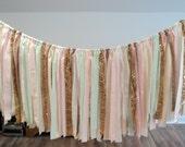 Mint and Gold Garland Nursery Wall Decoration Baby Shower Garland Fabric Garland Sparkly Banner Gold Glitter Tassle Garland