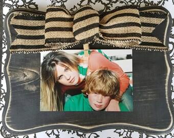 Distressed Wood Block Frame, Rustic Picture Frame, chunky Wood Frame, Horizontal 5x7 Frame,  Black stripe Burlap Bow