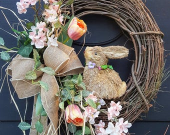 Easter wreath with rabbit, spring door decorations, Easter wreath, spring outdoor wreaths