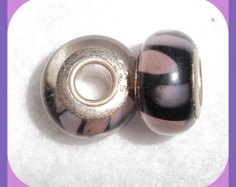 Drop Leaf Lampwork Beads Glass and 925 Sterling Silver Core PAIR