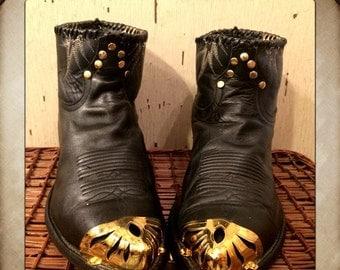 Sale Vintage Black Short Tony Lama Cowboy Boots with Gold Toe Cap and Studs men's size 9 woman's size 11