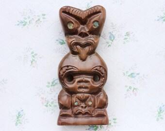 Maori Wooden Sculpture - Tongue Sticking Out Carved Rotorua Wood Statue - New Zealand Folk Art