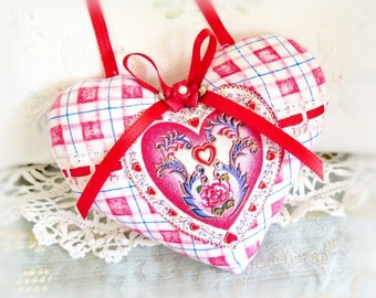 "Valentine Heart Ornament 5"" Door Hanger Heart, Red White Blue Plaid Decorative Heart Handmade CharlotteStyle Decorative Folk Art"