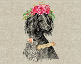 Dog with Flower Crown. Instant Download Digital Image No.399 Iron-On Transfer to Fabric (burlap, linen) Paper Prints (cards, tags)
