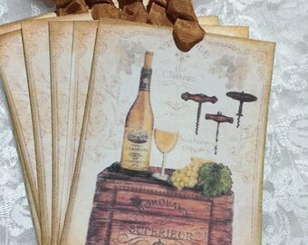 White Wine Gift Tag Set, Notecards, Stationery, Gift Wrapping, Journaling, Scrapbooking, Party Favors