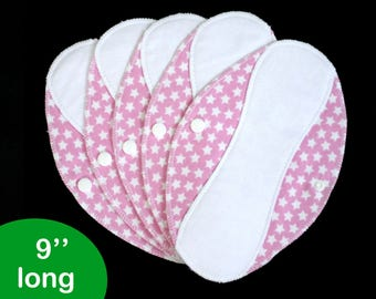 Pantyliners 9'' - Stars in pink - Washable - Reusable coth pads - Eco-friendly