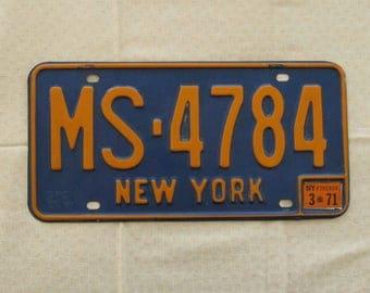 New York State Vintage License Plate, 1960s, Orange on Blue