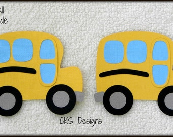 Die Cut  School Bus Set of 2 School Buses Premade Paper Piecing Embellishment for Card Making Scrapbook or Paper Crafts