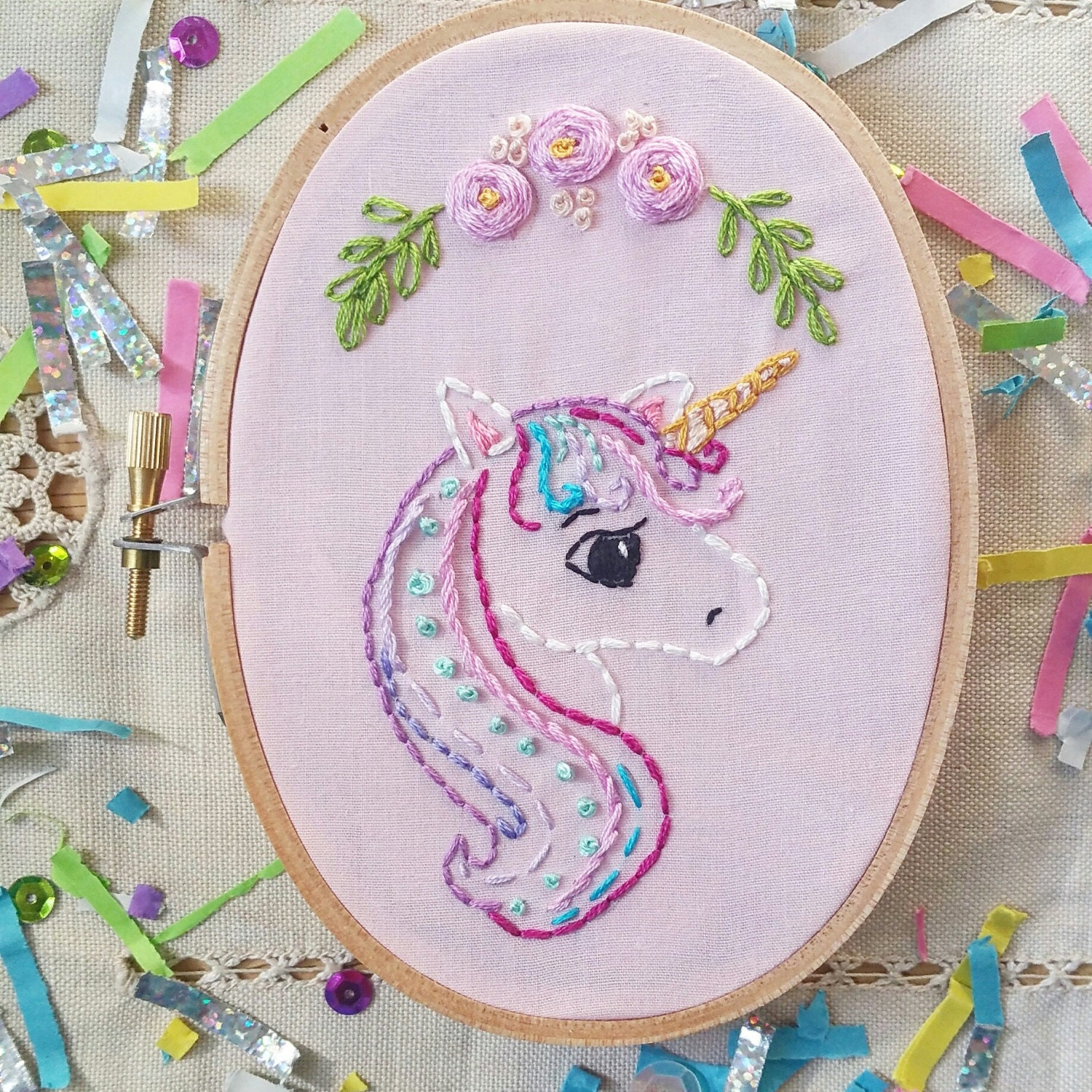 Unicorn embroidery hoop pastel colors sweet with