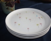 "4 Vintage 1950's Denby Stoneware Ceramic ""Dream"" Stars and Blue Moon Design Dinner Plates"