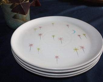 "4 Vintage 1950's Denby Stoneware Ceramic ""Dream"" Stars and Blue Moon Design Dinner Plates"