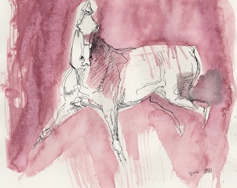 Original Ink and Pen Drawing of a Horse in Motion, Modern Art, Expressive Animal Art