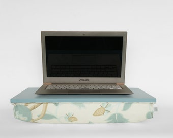 Laptop stand with pillow, wooden bed tray with pillow, serving Tray - turquoise tray, thick mint floral pillow