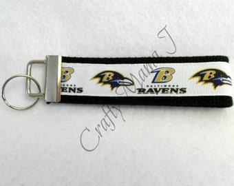 Baltimore Ravens NFL Football Print Ribbon on Cotton Webbing Key Fob, Key Chain, Wristlet. Baltimore, Maryland. Support Your Team