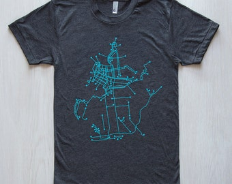 Brooklyn Bike T-Shirt- Dark Gray and Cyan