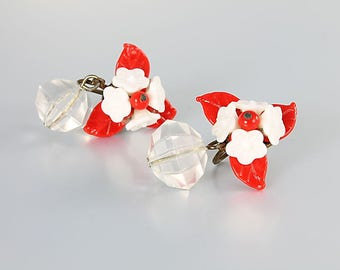 Milk glass Flower Earrings, Red White vintage West Germany 1950s Earrings
