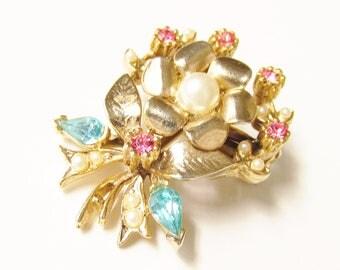 Vintage Coro Pink Blue Rhinestone Seed Pearl Flower Bouquet Brooch 1940s