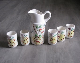 Vintage Ceramic Strawberry Juice Pitcher and Juice Glasses