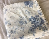 Vintage King Flat Sheet, Blue and white Floral, Cottage Chic, Shabby Chic