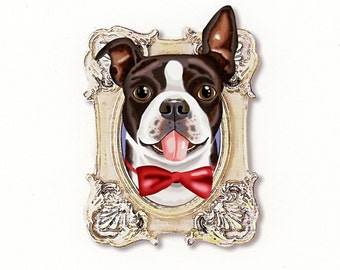 Boston Terrier Tiny Art Print - Black, White, Beige and Red- Dog Art Print - Tiny Boston in a Frame