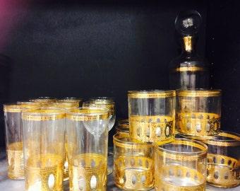 Culver collection. Decanter lowball glasses cocktail set 24 karat gold