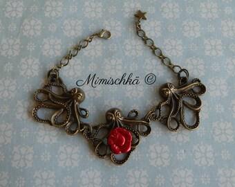 Bracelet retro vintage octopus red rose