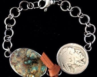 Handmade Jewelry, Southwestern, One of a Kind, Seven Dwarfs Cab, Vintage Indian Head Nickel, Sterling Silver Link Bracelet