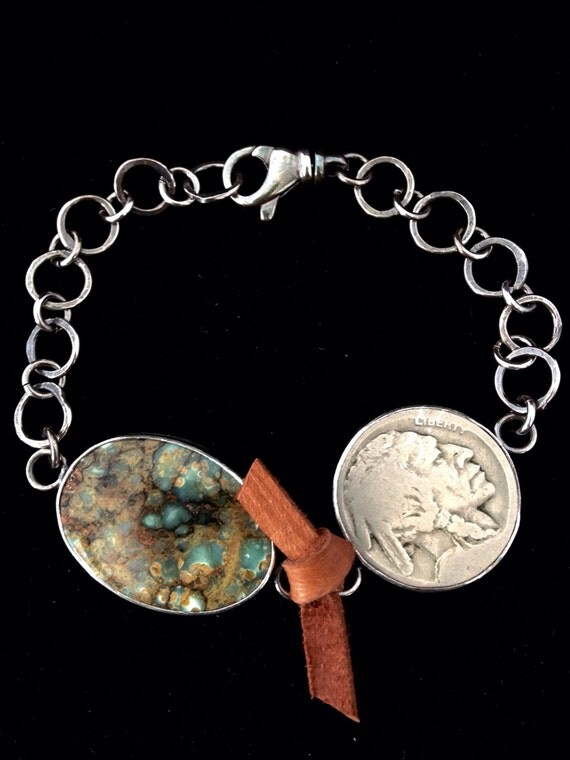 Handmade Jewelry, Southwestern, One of a Kind, Seven Dwarfs Cab, Vintage Indian Head Nickel, Sterling Silver Link Bracelet