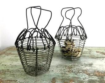 Vintage miniature wire egg basket