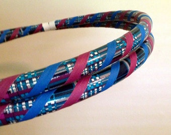 LiMiTeD EdiTiOn Hula Hoop - Infinity Collapsible for Dance Fitness Fun - Blue & Purple Plaid Travel Hoop - 100 or 125 PSI PE - Kid or Adult