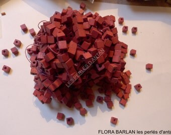 antique wood beads cubes vintage beads