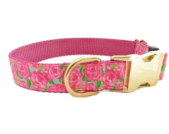 Rose Dog Collar, Personalized Pet Collar