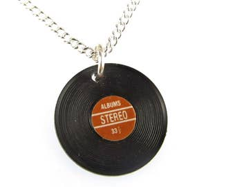 Record Necklace Miniblings 45cm DJ Band Music LP vinyl Record musician red