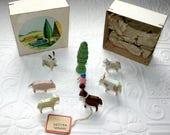 Eastern Germany Wooden Farm Animals-Miniature-Tree and Man-Original Box