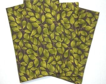 SALE Set of 4 Leaf Napkins Green Leaf Cloth Napkins Size 18x18