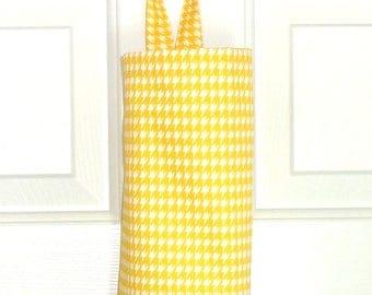 Plastic Bag Holder Grocery Bag Storage Kitchen Bag Storage Yellow Houndstooth Grocery bag Holder